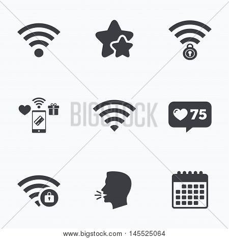 Wifi Wireless Network icons. Wi-fi zone locked symbols. Password protected Wi-fi sign. Flat talking head, calendar icons. Stars, like counter icons. Vector