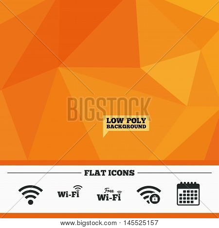 Triangular low poly orange background. Free Wifi Wireless Network icons. Wi-fi zone locked symbols. Password protected Wi-fi sign. Calendar flat icon. Vector