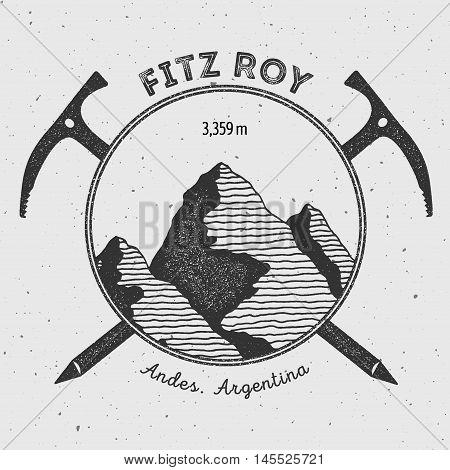 Fitz Roy In Andes, Chile Outdoor Adventure Logo. Climbing Mountain Vector Insignia. Climbing, Trekki