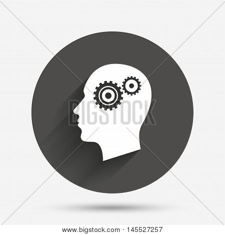 Head with gears sign icon. Male human head symbol. Circle flat button with shadow. Vector