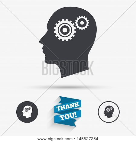 Head with gears sign icon. Male human head symbol. Flat icons. Buttons with icons. Thank you ribbon. Vector