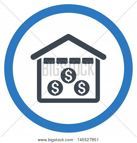 Money Depository vector bicolor rounded icon. Image style is a flat icon symbol inside a circle, smooth blue colors, white background.