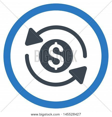 Money Turnover vector bicolor rounded icon. Image style is a flat icon symbol inside a circle, smooth blue colors, white background.