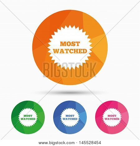 Most watched sign icon. Most viewed symbol. Triangular low poly button with flat icon. Vector