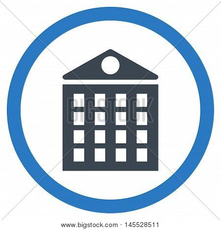 Multi-Storey House vector bicolor rounded icon. Image style is a flat icon symbol inside a circle, smooth blue colors, white background.