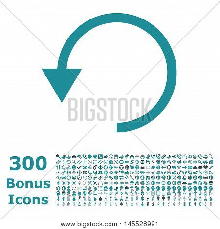 Rotate Ccw icon with 300 bonus icons. Glyph illustration style is flat iconic bicolor symbols, soft blue colors, white background.