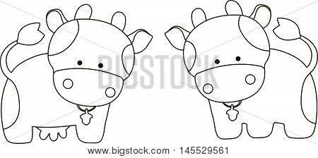 Line art of a cute cartoon cow and bull with a spots and bells, on a white background