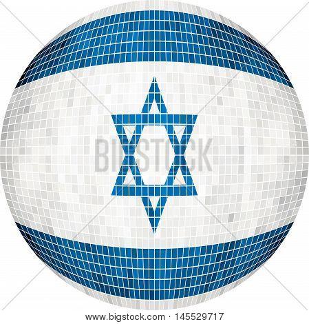 Ball with Israel flag - Illustration,  Sphere Israel Flag vector,   Abstract Grunge Mosaic flag of Israel