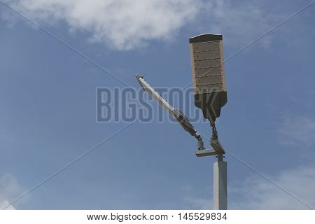 Pole of LED Lighting outdoor on sky background.