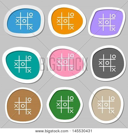 Tic Tac Toe Game Vector Icon Symbols. Multicolored Paper Stickers. Vector