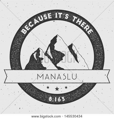 Manaslu In Himalayas, Nepal Outdoor Adventure Logo. Round Climbing Vector Insignia. Climbing, Trekki