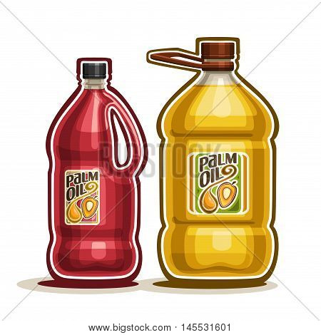 Vector logo 2 big yellow plastic Bottle with Palm Oil fruits and label, gallon canister filled pure cooking oil, cartoon large container with red liquid with cap and handle, closeup isolated on white.