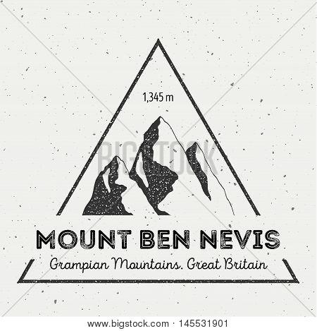 Ben Nevis In Grampian Mountains, Great Britain Outdoor Adventure Logo. Triangular Mountain Vector In