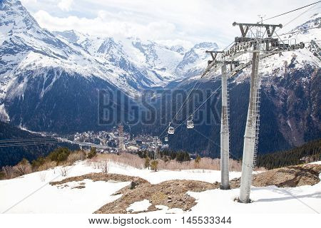 DOMBAY RUSSIA - May 03.2015: Aerial lift on a mountain Mussa-Achitara
