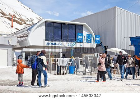 DOMBAY RUSSIA - May 03.2015: Station of Aerial lift on a mountain Mussa-Achitara. First level