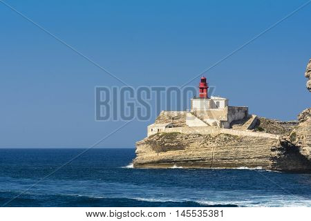 Lighthouse and coast near Bonifacio city in Corsica