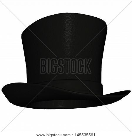 Black top-hat or topper isolated in white background - 3D render