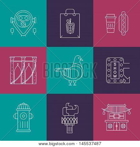 Main New York landmarks. Bridge, pigeon, apple, chine town. Poster design or postcard illustration
