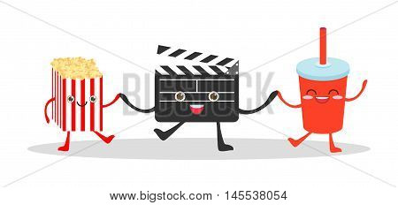 Movie clapper and cola and popcorn on white background, Illustration watching a movie, cinema, movies, food funny Vector Illustration cartoon.