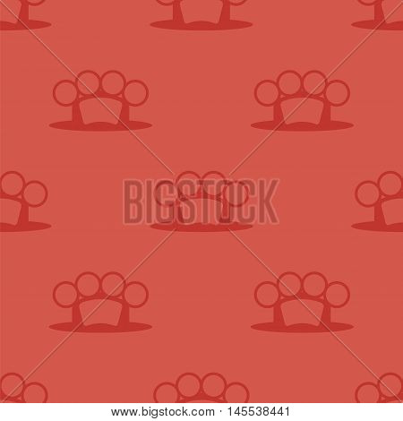 Metal Knuckles Silhouette Seamless Pattern on Red.
