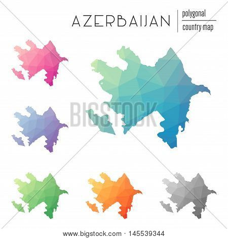 Set Of Vector Polygonal Azerbaijan Maps. Bright Gradient Map Of Country In Low Poly Style. Multicolo