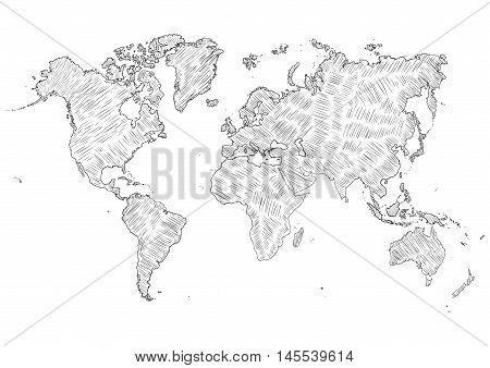 Vector Sketch Illustration - World Map Silhouette