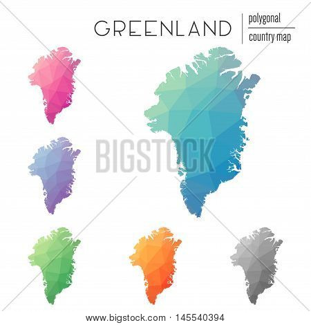 Set Of Vector Polygonal Greenland Maps. Bright Gradient Map Of Country In Low Poly Style. Multicolor