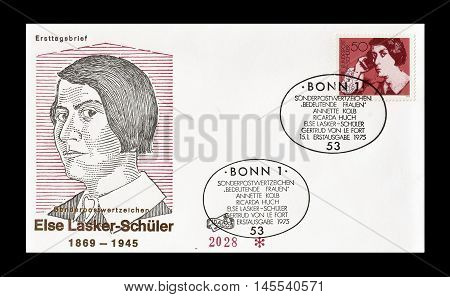 GERMANY - CIRCA 1975 : Cancelled First Day Cover letter printed by Germany, that shows Else Laske Schuller.