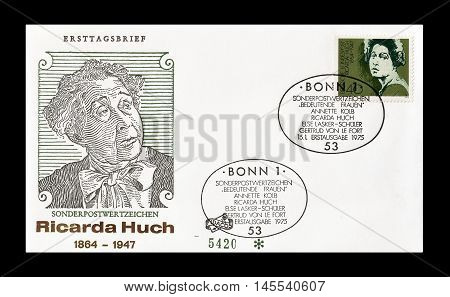 GERMANY - CIRCA 1975 : Cancelled First Day Cover letter printed by Germany, that shows Ricarda Huch.