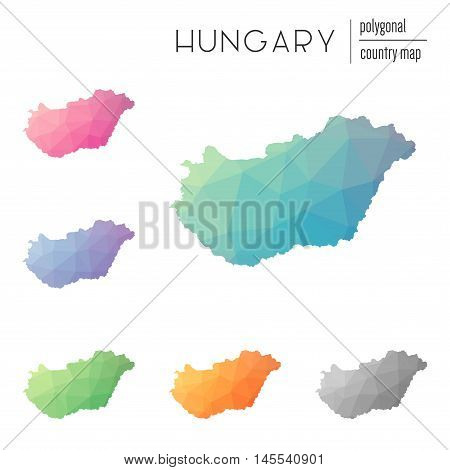 Set Of Vector Polygonal Hungary Maps. Bright Gradient Map Of Country In Low Poly Style. Multicolored