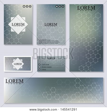 Set of modern templates for brochure, flyer, visit cards and banner. Structure molecule of DNA and neurons. Medicine, science and technology. Abstract background. Vector Illustration