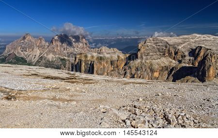 Sella group and Sassolungo mount from Sass Pordoi Italian Dolomites