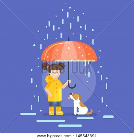 Vector illustration of smiling girl in a yellow raincoat holding an umbrella, protecting a dog from the rain.