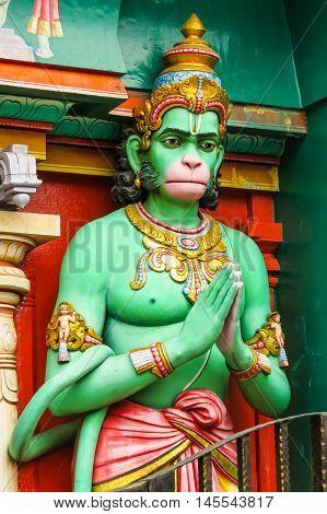 Hanuman described as the son of the wind-god Pawan. Sri Krishnan Temple, Singapore