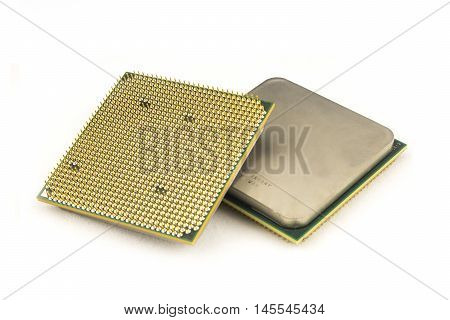 PC processor on the white background. Two sides of processor.