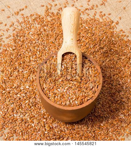 flaxseed on canvas background with a wooden spoon