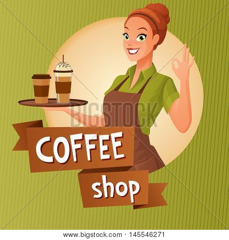 Beautiful barista waitress holds a tray with cups of hot and ice coffee showing ok sign gesture. Cartoon vector illustration with text on ribbon on green background.