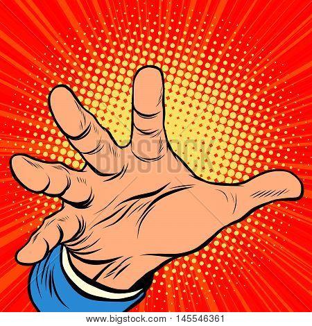 Hand palm power pop art retro comic drawing illustration