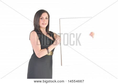 business woman holding flip chart