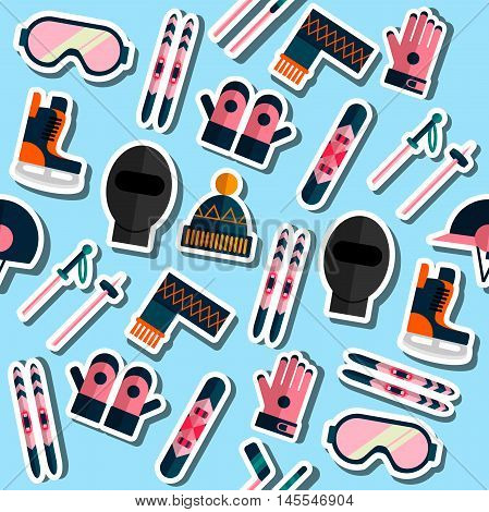 Colored winter sports equipment silhouettes pattern. Vector illustration, EPS 10
