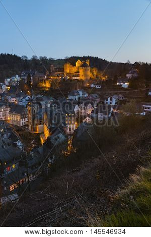 Monschau And Castle At Night, Germany