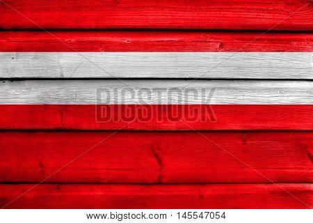 Flag Of Vaduz, Lichtenstein, Painted On Old Wood Plank Background