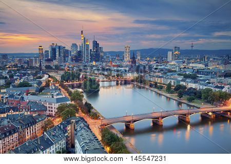 Frankfurt am Main. Image of Frankfurt am Main skyline during twilight blue hour.