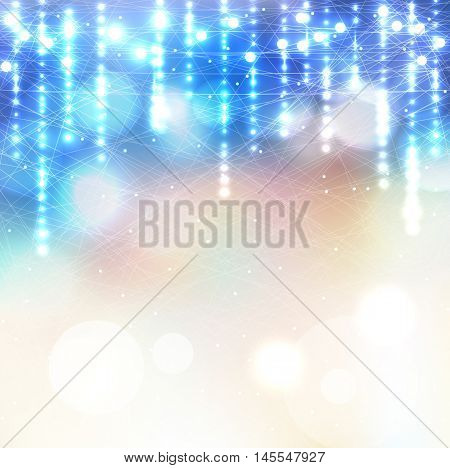 Vector winter frozen background lights bokeh. Pattern skates on ice. Magic rain