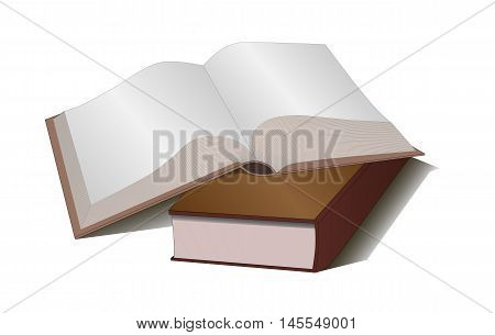 Two blank book brown in centerfold top