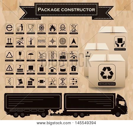 Vector package constructor. Packaging symbols. Icon set including waste recycling fragile flammable this side up handle with care keep dry and others. Vector illustration