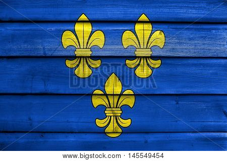 Flag Of Wiesbaden, Germany, Painted On Old Wood Plank Background