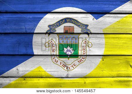 Flag Of Winnipeg, Manitoba, Canada, Painted On Old Wood Plank Background