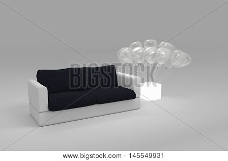Black And White Polygonal Modern Style Sofa With Translucent Balloon Planted At A White Light Box On