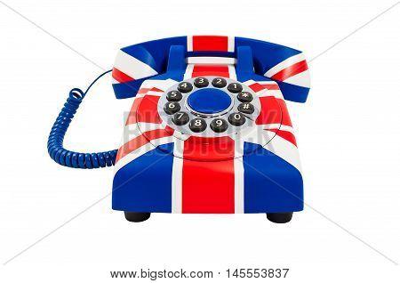 Union Jack telephone with pattern of British flag isolated on the white background. Telephone closeup. British telephone.
